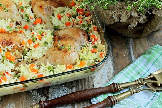 куриные бедра с рисом в духовке