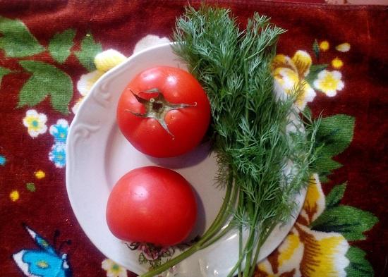 свежие помидоры и укроп