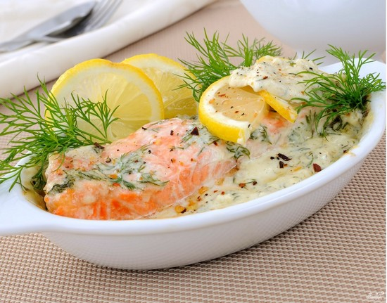 Для ужина вдвоем - лосось в сливочном соусе
