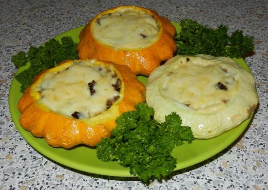 Рецепт патиссонов в духовке с овощной начинкой